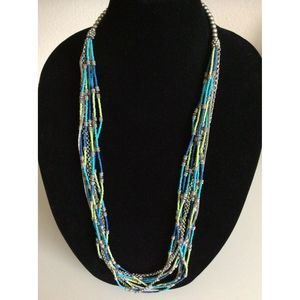 Chico's Blue Green Multi Strand Long Bead Necklace